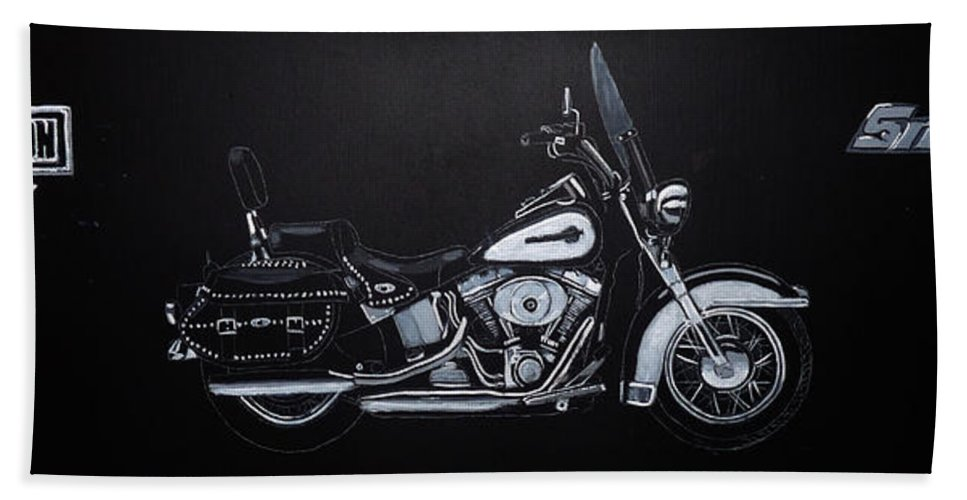 Bike Hand Towel featuring the painting Harley Davidson Snap-on by Richard Le Page
