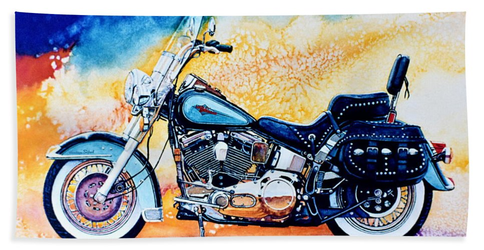 Heritage Softail Bath Sheet featuring the painting Harley Hog I by Hanne Lore Koehler