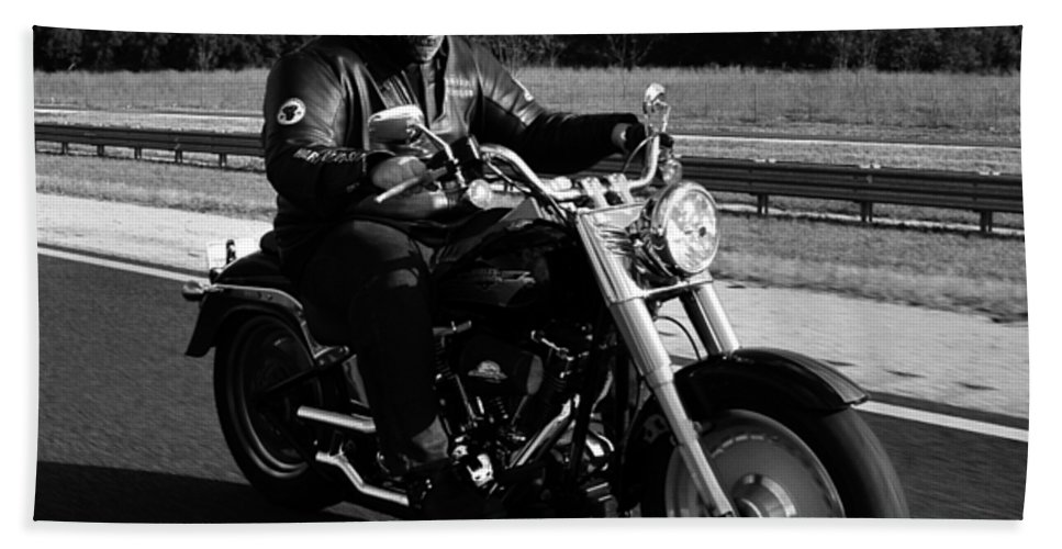 Harley Davidson Hand Towel featuring the photograph Harley Man by David Lee Thompson