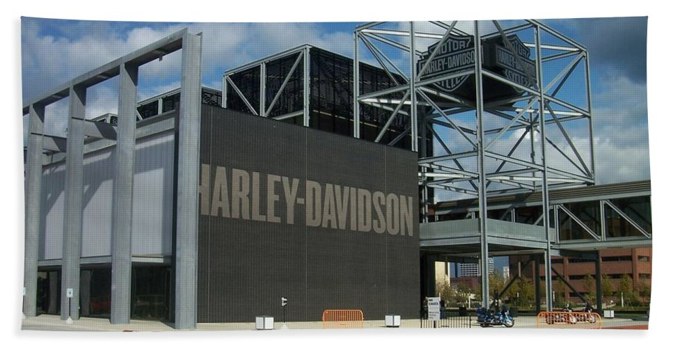 Bath Towel featuring the photograph Harley Museum by Anita Burgermeister