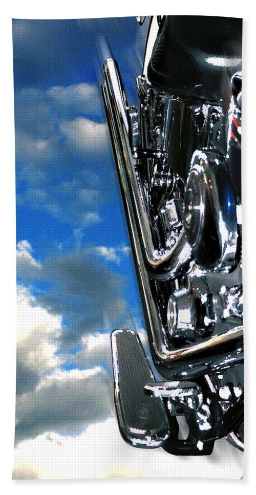 Motor Cycle Bath Sheet featuring the photograph Harley by Steve Karol