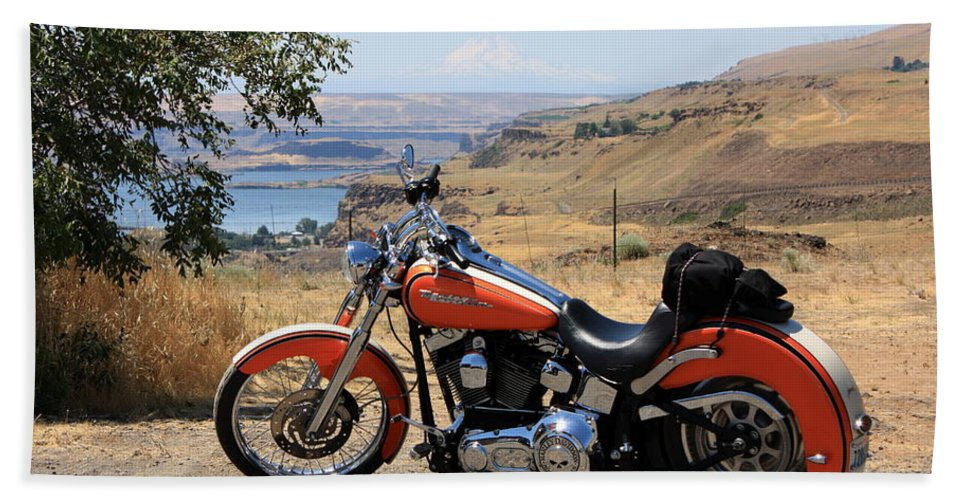 Washington State Bath Towel featuring the photograph Harley With Columbia River And Mt Hood by Carol Groenen