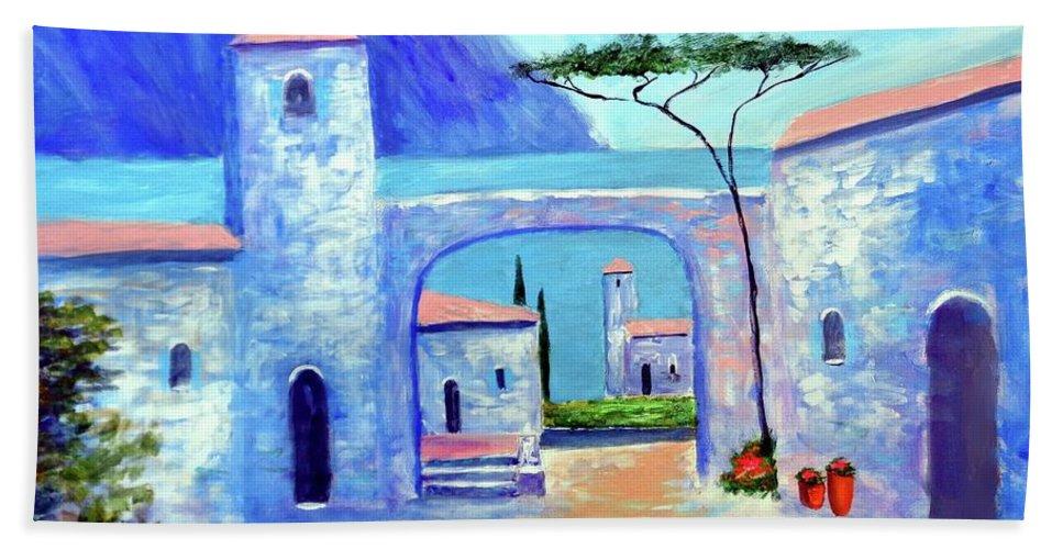 Lake Como Italy Bath Towel featuring the painting Harmony Of Como by Larry Cirigliano