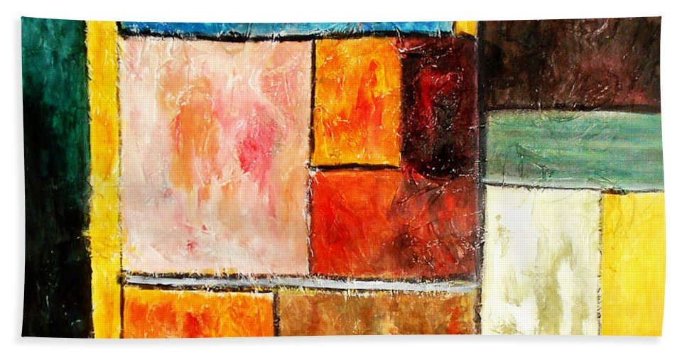 Acrylic Painting Bath Towel featuring the painting Harmony by Yael VanGruber