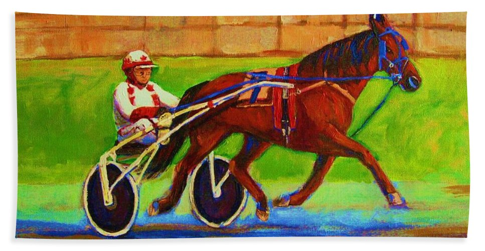 Harness Racing Bath Sheet featuring the painting Harness Racing At Bluebonnets by Carole Spandau