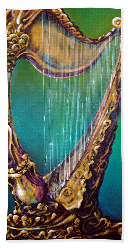 Harp Hand Towel featuring the painting Harp by Kevin Middleton