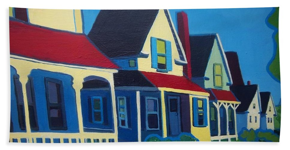Maine Bath Sheet featuring the painting Harpswell Cottages by Debra Bretton Robinson