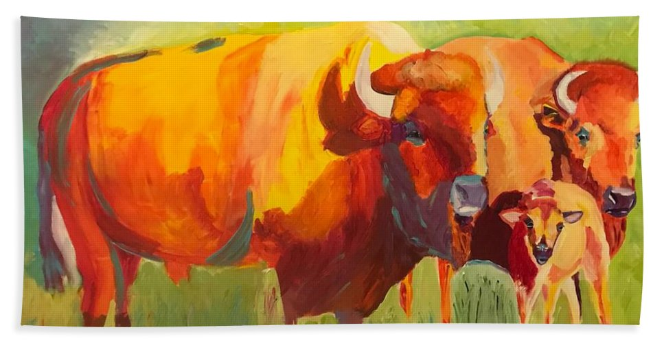 Bison Bath Sheet featuring the painting Hartsel Bison Family In Springtime by Kathi Schwan