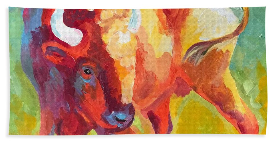 Bison Bath Sheet featuring the painting Hartsel Bison In Springtime by Kathi Schwan
