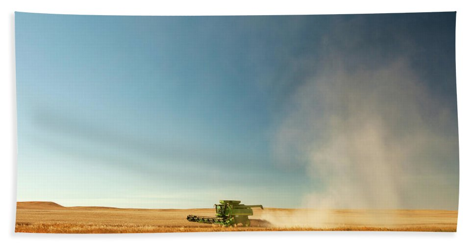 Combine Hand Towel featuring the photograph Harvest Cloud by Todd Klassy