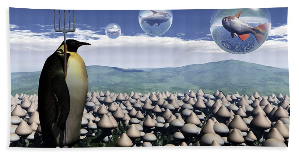 Surreal Bath Towel featuring the digital art Harvest Day Sightings by Richard Rizzo