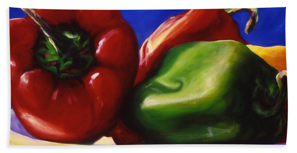 Still Life Bath Sheet featuring the painting Harvest Festival Peppers by Shannon Grissom