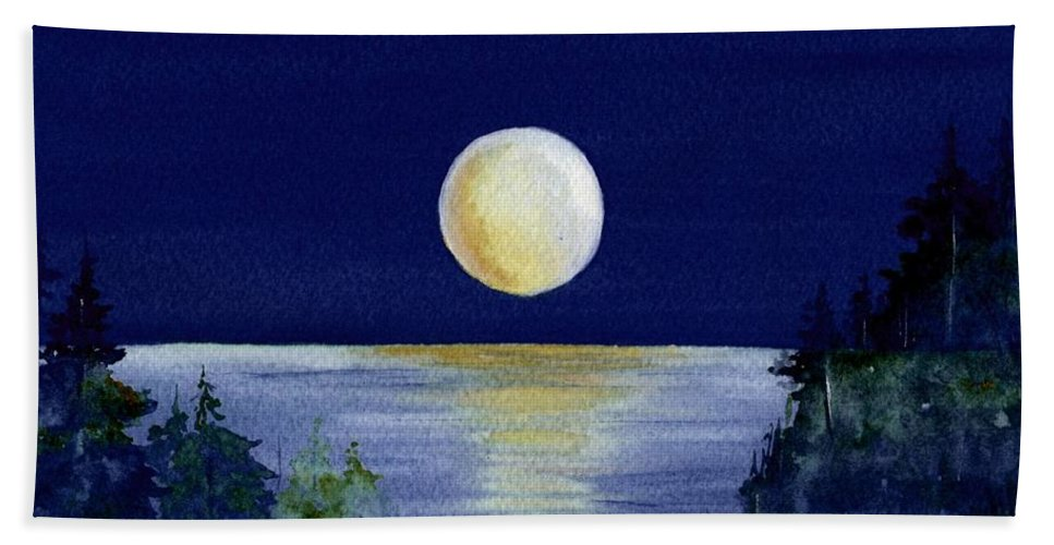 Watercolor Bath Towel featuring the painting Harvest Moon by Brenda Owen
