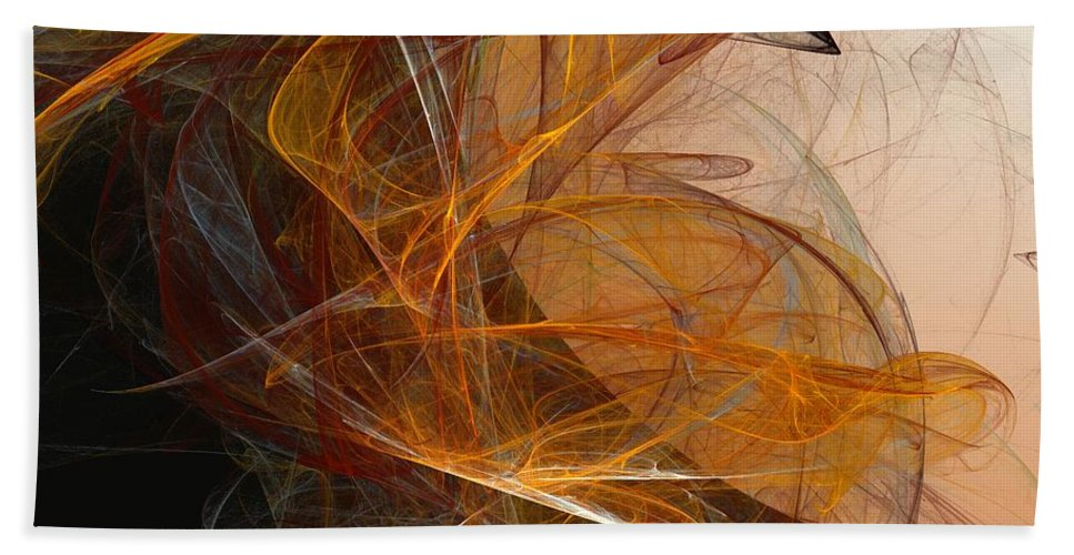 Abstract Expressionism Bath Sheet featuring the digital art Harvest Moon by David Lane