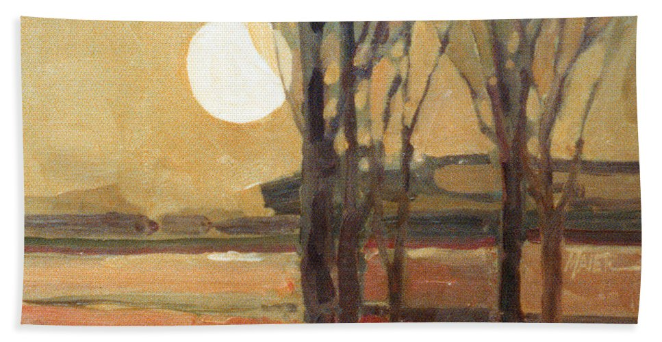 Sunset Bath Towel featuring the painting Harvest Moon by Donald Maier