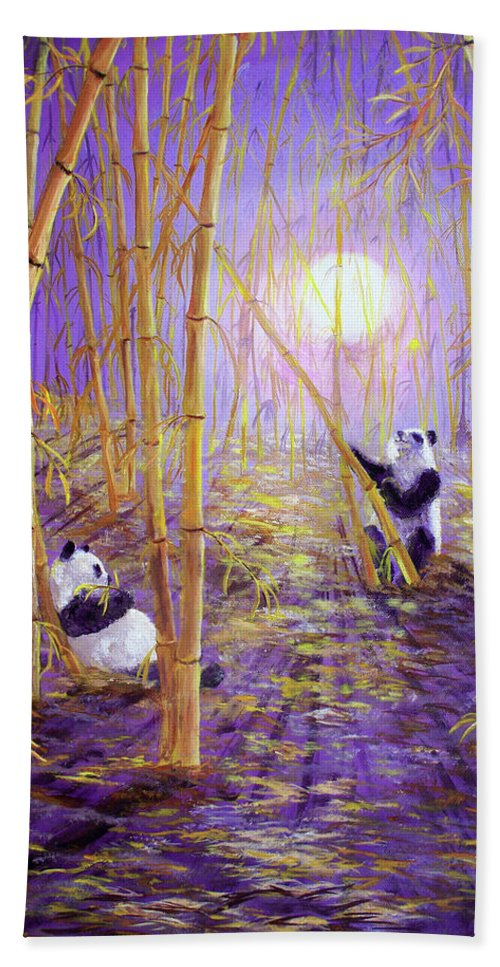 Painting Bath Sheet featuring the painting Harvest Moon Pandas by Laura Iverson