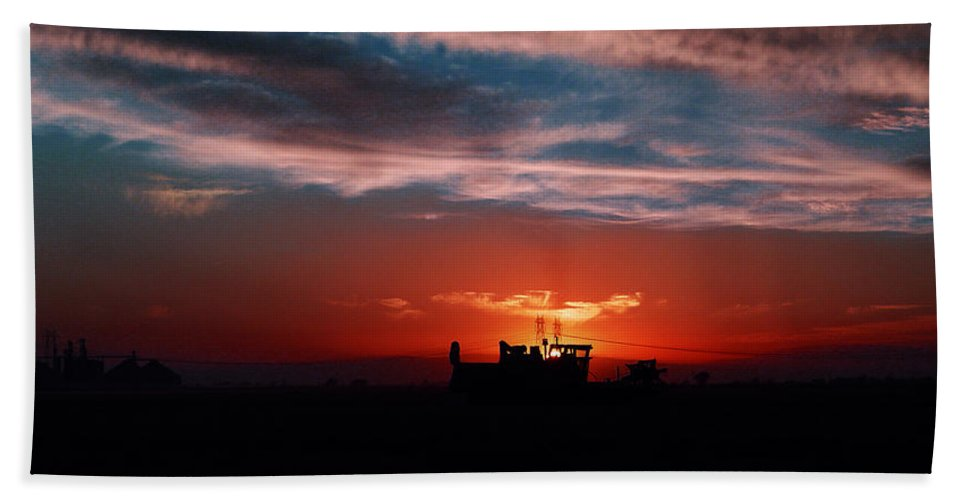 Sunset Hand Towel featuring the photograph Harvest by Peter Piatt