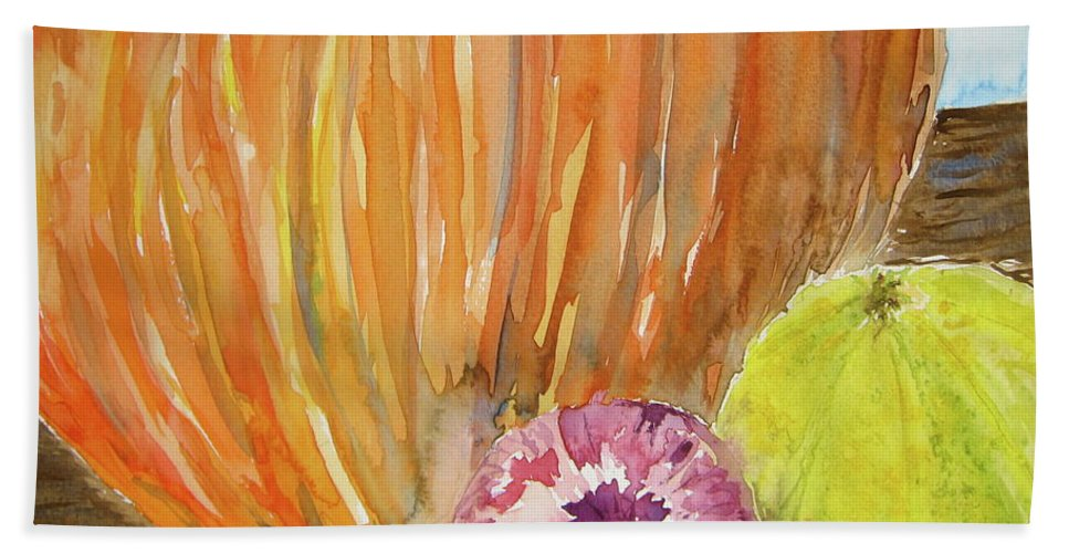 Pumpkin Bath Towel featuring the painting Harvest Still Life by Beverley Harper Tinsley