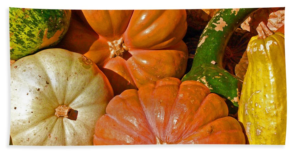 Squash Bath Towel featuring the photograph Harvest Time by Debbi Granruth