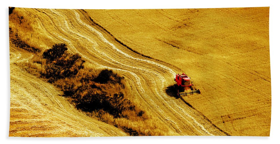 Combine Bath Towel featuring the photograph Harvesting The Crop by Mal Bray