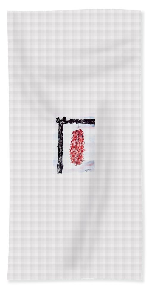 Watercolor Painting Bath Towel featuring the painting Hatch Texas Chili Pepper painting by Derek Mccrea