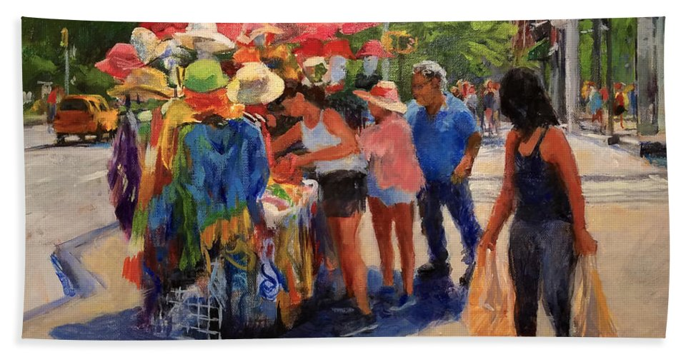 Landscape Bath Towel featuring the painting Hats, Scarves And Sunlight On Broadway by Peter Salwen