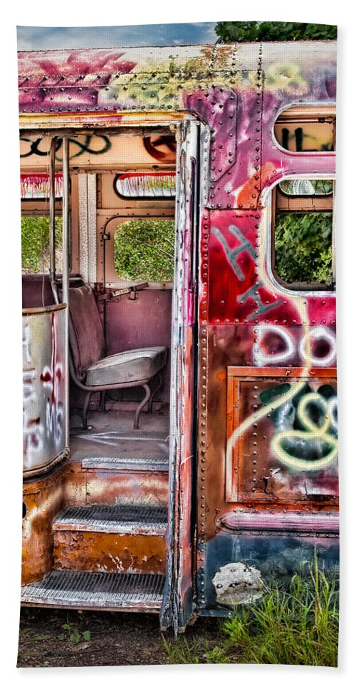 Graffiti Bath Sheet featuring the photograph Haunted Graffiti Art Bus by Susan Candelario