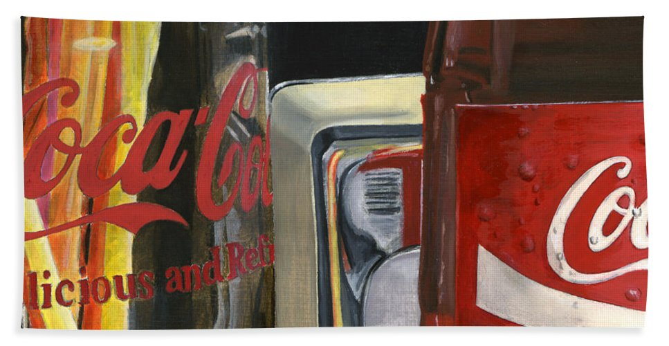 Coca Hand Towel featuring the painting Have A Coke... by Rob De Vries