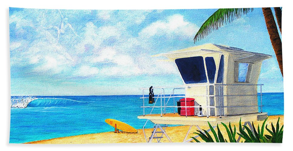 Hawaii Bath Sheet featuring the painting Hawaii North Shore Banzai Pipeline by Jerome Stumphauzer