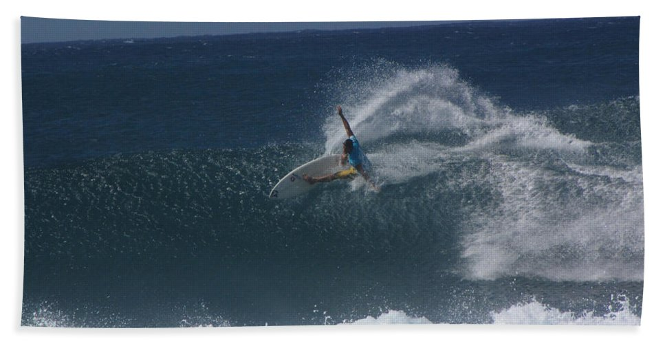 Surfer Bath Sheet featuring the photograph Hawaii Pipeline by Sarah Houser
