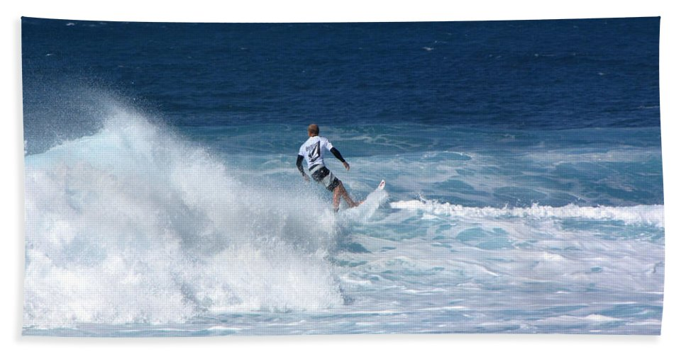 Surfer Bath Sheet featuring the photograph Hawaii Pipeline Surfer by Sarah Houser