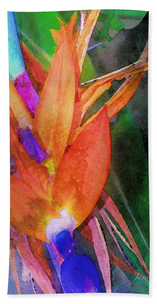 Bird Of Paradise Hand Towel featuring the digital art Hawaiian Abstract by James Temple