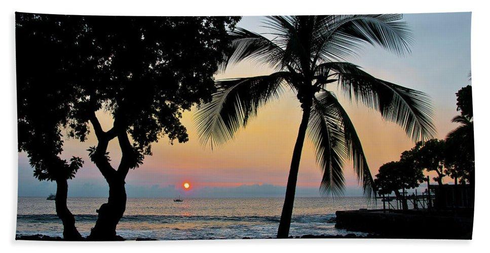 Hawaii Bath Sheet featuring the photograph Hawaiian Big Island Sunset Kailua Kona Big Island Hawaii by Michael Bessler