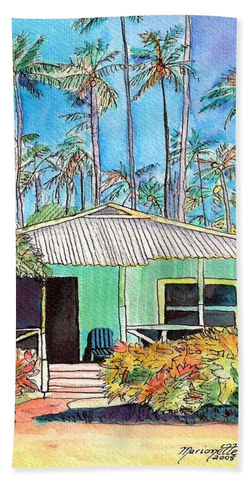 Cottage Bath Towel featuring the painting Hawaiian Cottage I by Marionette Taboniar