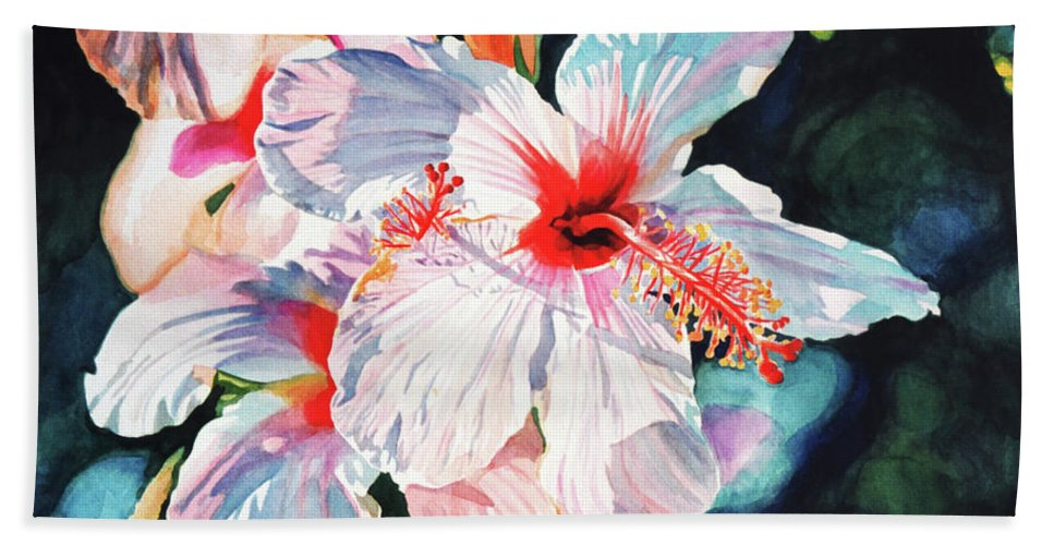 Hibiscus Bath Towel featuring the painting Hawaiian Hibiscus by David Lloyd Glover