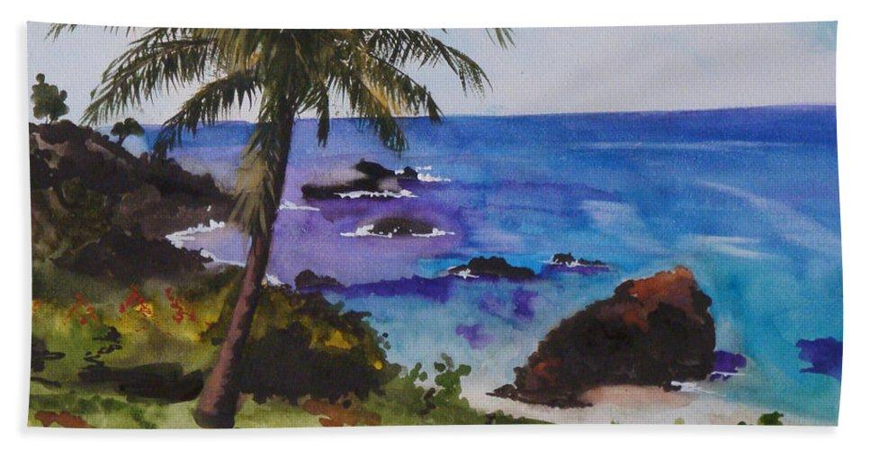 Hawaii Hand Towel featuring the painting Hawaiian Splendor by Jean Blackmer