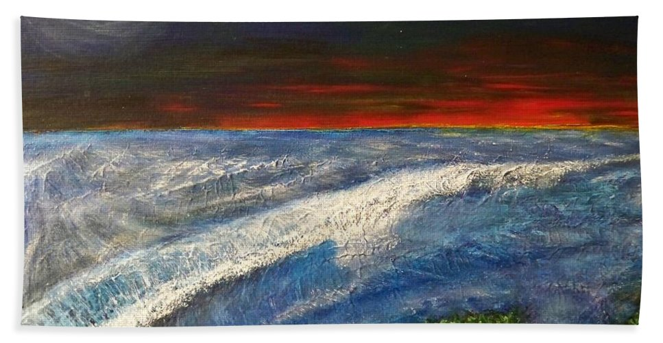 Beaches Bath Towel featuring the painting Hawiian View by Michael Cuozzo