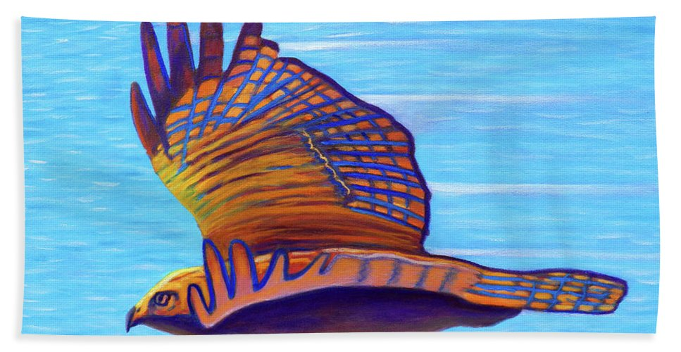 Hawk Hand Towel featuring the painting Hawk Speed by Brian Commerford