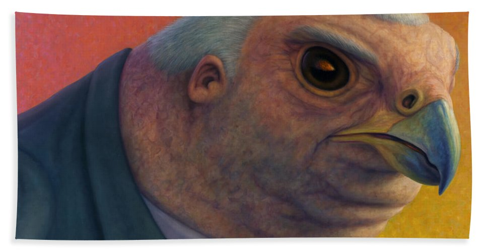 Hawk Bath Towel featuring the painting Hawkish by James W Johnson
