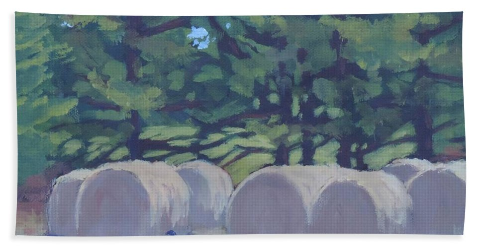 Art Hand Towel featuring the painting Hay Bales And Crows by Bill Tomsa