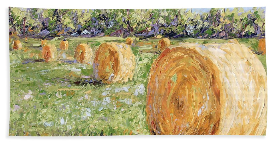 Hay Bath Sheet featuring the painting Hay Rolls by Lewis Bowman