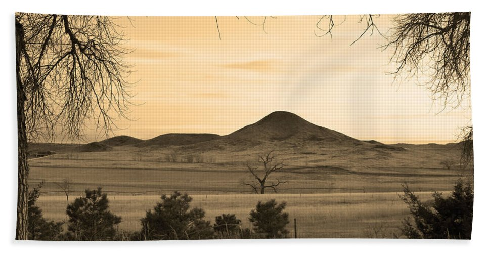 Boulder Hand Towel featuring the photograph Haystack Mountain - Boulder County Colorado - Sepia Evening by James BO Insogna