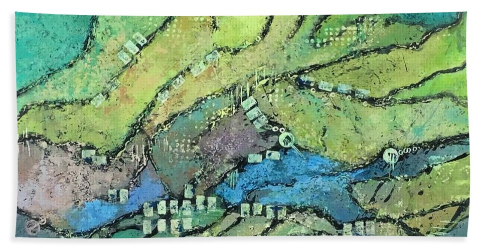 Abstract Landscape Hand Towel featuring the painting Haystack Mountain by Lloyd Goodwin