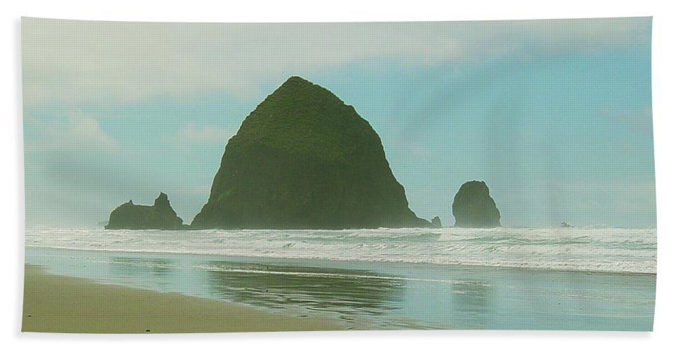 Oregon Coast Bath Sheet featuring the photograph Haystack Rock by Sara Stevenson
