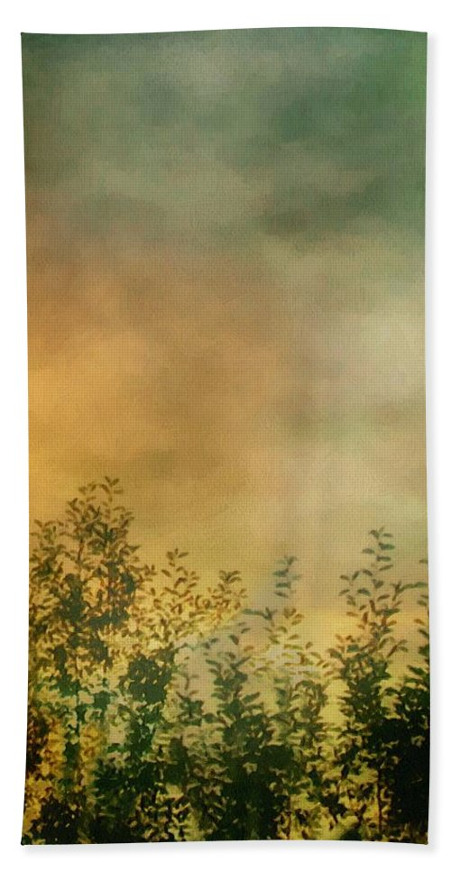 Dusk Bath Sheet featuring the painting Haze On Moonlit Meadow by RC deWinter