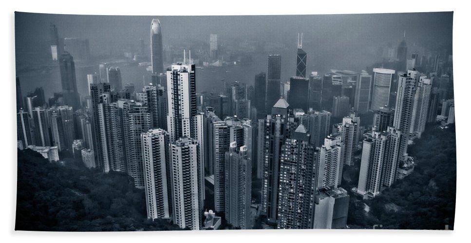 Hong Kong Bath Sheet featuring the photograph Hazy Hong Kong by Venetta Archer