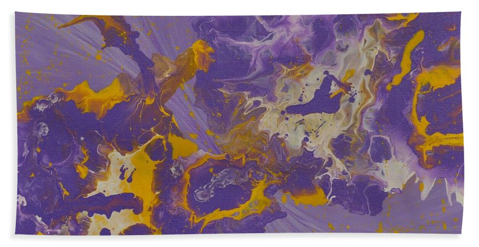 Abstract Painting Hand Towel featuring the painting He And She by Georgeta Blanaru