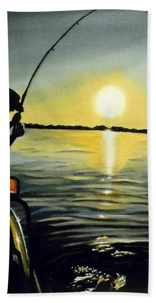 Fishing Hand Towel featuring the painting He Didn't Get Away by Janet Guss
