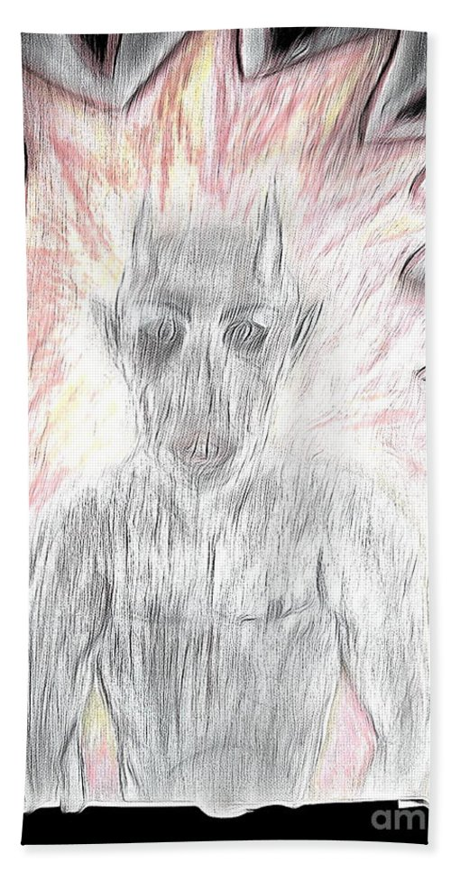 He Flame Sureal Hand Towel featuring the drawing He Flame by Yury Bashkin