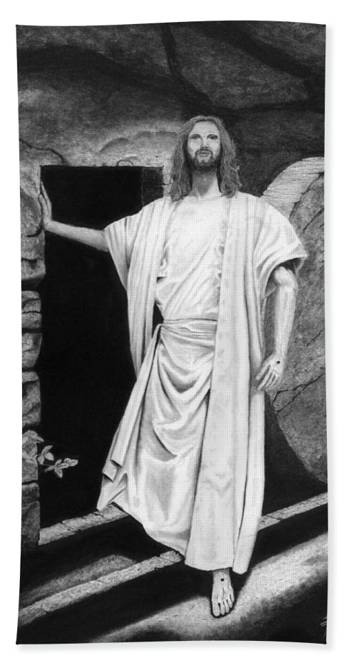 Jesus Bath Towel featuring the drawing He Is Risen by James Schultz